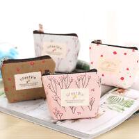 Women Small Mini Wallet Pouch Coin Purse Key Card Holder Zipper Hand Canvas Bag