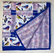 Handmade Baby Quilt Blue Pink Birds 39�x 39� Unisex Multicolored Boy Girl Shower