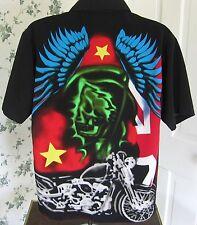 Dragonfly Grim Reaper Motorcycle Men's Medium Hawaiian Shirt Short Sleeve