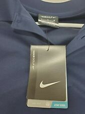 NWT NIKE GOLF DRI-FIT STAY COOL SIZE M SHORT SLEEVE NAVY BLUE GOLF POLO SHIRT!