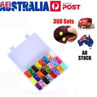 360 Sets KAM Snap Kits Plastic Snaps Fastener Buttons Press Stud Set Size 20 T5