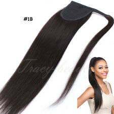 "Real Remy Human Hair Extensions Clip In Ponytail Hair Wrap Pony tail 14""-20"" US"