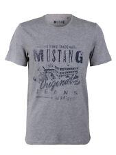 Mustang Herren T-Shirt Basic Print Rundhals Grau 100% Baumwolle NEU