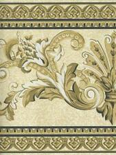 BEIGE , BROWN AND BLACK  ARCHITECTURAL  DAMASK WALLPAPER BORDER