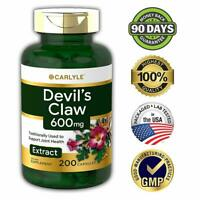 DEVILS CLAW ROOT EXTRACT 200 Capsules 600 mg Gluten Free Supplement Joint Health