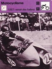 MOTO carte fiche photo 1957 RETRAIT DES ITALIENS GILERA