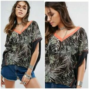 FREE PEOPLE Margot T- Shirt Tropical Summer TEE Batwing Relaxed Fit XS UK 6 8 10