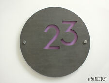 Modern House Numbers, Concrete &Purple Acrylic- Sign Plaque - Door Number Round