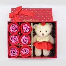 6Pcs Red Romantic Soap Rose Flowers With Bear Box Birthday Valentine's Day Gift