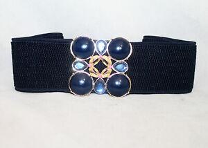 NWT LILLY PULITZER Emmett Belt 5023 True Navy Blue Size XS/S Stretch Jeweled