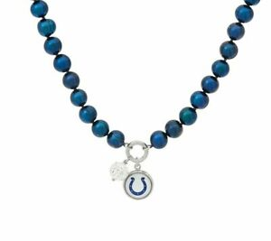 "Honora Cultured Pearl 7.0Mm Indianapolis Colts Nfl Team 18"" Charm Necklace Qvc"