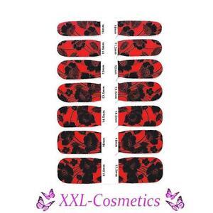 14 x Nagelfolie Nail Art Stripes Folie Rot / Schwarz + Feile #NW-6