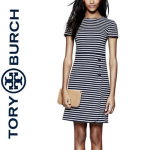 "TORY BURCH ""Kamilla"" Dress, Navy & White stripes w/ buttons, XL, Retail $375 NWT"