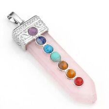 Rose Quartz Gemstone Seven 7 Chakra Point Pendant Necklace Reiki Healing Jewelry