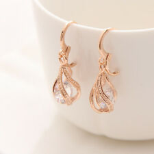 Gold Colour Round Clear Crystal Pierced Dangle Drop Earring Bridal Birthday Gift