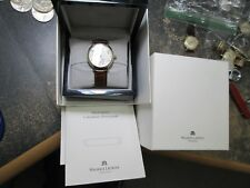 MAURICE LACROIX 18K GILD & STAINLESS RUNNING WRIST WATCH WITH BAND BOX & BOOKLET