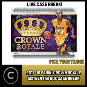 2017-18 PANINI CROWN ROYALE 16 BOX FULL CASE BREAK #B482 - PICK YOUR TEAM -