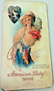 American Lady Shoe 1908 spring styles Lady of the west wooden shoe sign heart