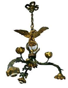 Rare antique French brass metal EAgle bird 3 arm chandelier