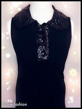 ✨LIPSY Black Leather Wet Look Collared Hem Shift Dress UK 10 EU 38 US 6 FAST📮✨