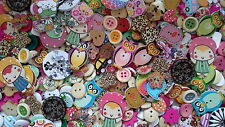 50 x Assorted wooden buttons- sewing, scrapbooking, joblot / bulk