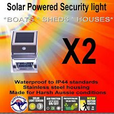 2 X STAINLESS STEEL SOLAR POWERED   SAFETY MOTION CENSOR LIGHT  IP44 WATER PROOF