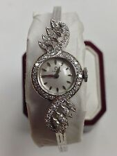 Vintage Ladies Omega Watch Natural Diamond Solid 14kt White Gold