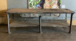 Table Industrial Vintage 1940s Metal Pressweld Workbench with drawers. Loft