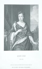 OLD ANTIQUE PRINT PORTRAIT QUEEN ANNE GREAT BRITAIN c1870's ENGRAVING
