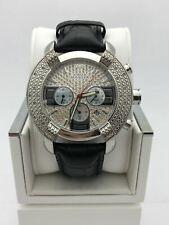 Aqua Master Men's Silver Tone Dial Black Genuine Leather Strap Watch