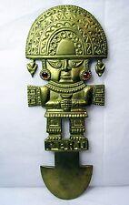 "Vintage Tumi Plaque Ceremonial Blade Detailed Talisman Ornament Peru 10.65"" Luck"