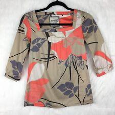 Esprit ASOS SZ 2 Blouse Square Neckline Floral Abstract Peasant Tan 3/4 Sleeve