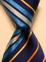 ETON Mens 100% Silk Necktie ITALY Luxury Designer STRIPED Blue/Yellow/Orange EUC