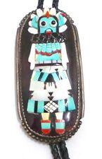 Old Pawn Zuni Kachina Sterling Silver Multi Color/Stone Inlay Bolo Tie - Signed