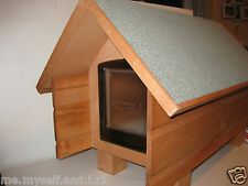 PEAK ROOF BROWN CATFLAP MEDIUM OUTDOOR SHELTER CAT SMALL DOG KENNEL HOUSE