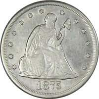 1875 CC 20c Seated Liberty Silver Twenty Cent Piece Coin VF Very Fine