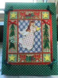 Christmas Photo Album Trifold Calico Fabric Angel Applique Holds 90 Photos