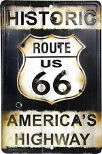 """Route 66 America's Highway 8"""" x 12"""" Metal Sign Nostalgic Retro Embossed Plaque"""