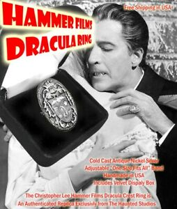 Christopher Lee Hammer Films Dracula Crest Prop Ring Replica Exclusive Source!