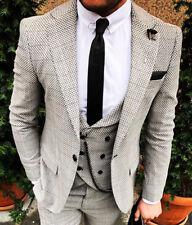 Designer Business Light Grey Checked Suit Jacket Trousers Vest Slimfit Slim 50