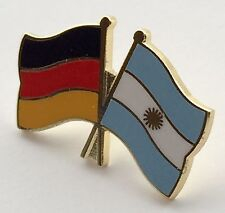 Germany & Argentina Friendship Flags Gold Plated Enamel Lapel Pin Badge