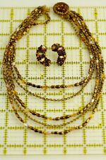 "Necklace Earrings Set 17"" L J6823 Vintage Hobe Multi Chain Glass Cluster Bead"