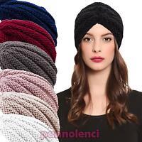 Turbante donna cuffia retro fascia lurex cappello tricot maglia nuovo KT2