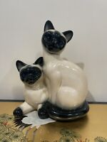 Vintage 1950's Siamese Cat With Marble Eyes Tv Lamp