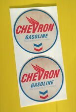 HOT ROD Retro worn 'CHEVRON GASOLINE' vintage GAS AND OIL Sticker Decal Chevy