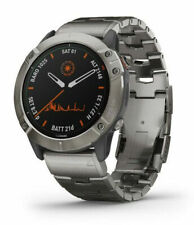 Garmin Fenix 6X Pro GPS-Laufuhr 51mm Gehäuse mit Titanarmband - Grau/Titan - Titan-Lünette