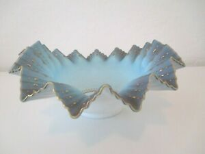 "Fenton? Antique Victorian Oval 10"" Handblown Fluted Bride's Basket Blue Gold (4)"