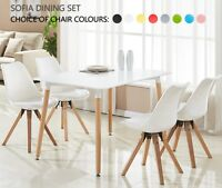 Sofia Dining Set - 4 x Sofia Padded Dining Chairs & White Halo Dining Table