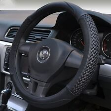 Moyishi Black Leather Steering Wheel Cover Universal Fit Genuine Top Quality