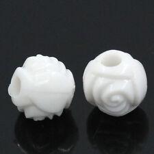 Lot 50 Perles Rond Fleur 6mm Couleur Blanc Fleurs Creation bijoux, colliler